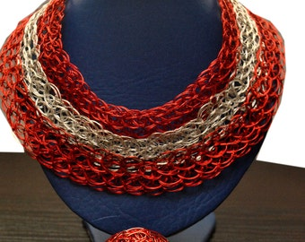 Statement Red/Silver wired bib necklace, adjustable
