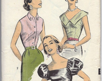 1950s Advance 8339 Sew-Easy Blouse Pattern: Size 12 Bust 32