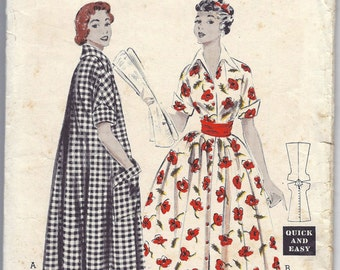 1950s Butterick 6747 Morning Dress Pattern, Size 14