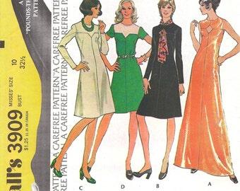 1970s Misses Knee or Floor Length Dress Pattern, McCalls 3909, Size 10, Bust 32.5