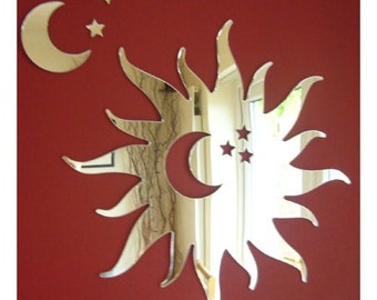 Sun Moon & Stars Mirror (Sun with Moon and Stars cut out) - 5 Sizes Available