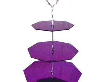 "Three Tier Purple Mirror Octagon Cake Stand - Base 30cm/12"""