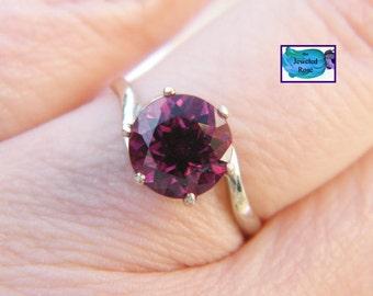 Round Rhodolite Garnet 14K Gold Ring Size 6
