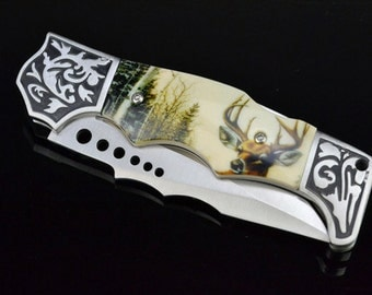 DecoGrip Hunting/Pocket Knife with Deer Design, Best Man Gift,Groomsman Gift, Birthday Gift,Fathers Day Gift,Christmas Gift, T14B