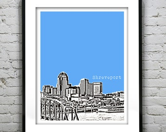 Shreveport Skyline Poster Art Print Louisiana LA