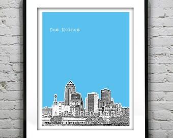 Des Moines Poster Art Print Iowa