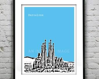 Barcelona Poster Sagrada Família Spain Art Print Skyline