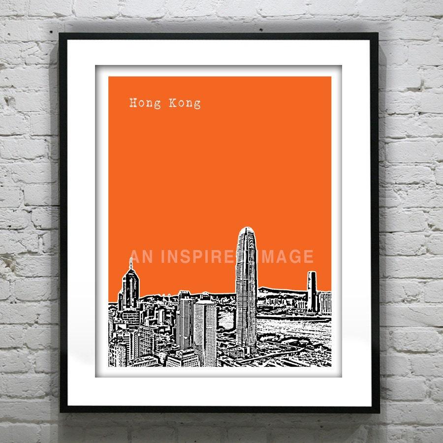Hong Kong Art: Hong Kong Poster China Art Print Skyline