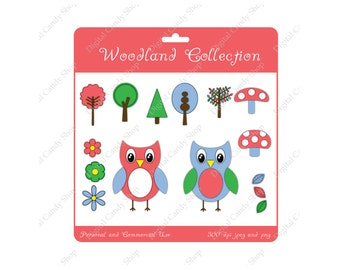 Digital Scrapbook Embellishments and Clipart Woodland Collection Instant Download