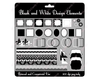 Black and White Design Elements Digital Scrapbook and Clipart Instant Download