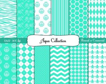 Aqua 12 x 12 Paper Pack Digital Scrapbook and Clipart Instant Download