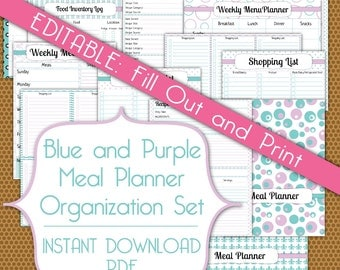 Editable Meal Planner PDF Instant Download Organization Printable Set in Blue and Purple
