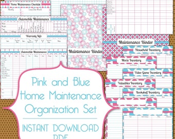 Home and Automobile Maintenance Set PDF Instant Download Printable in Pink and Blue
