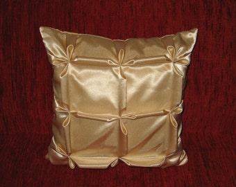 "Smocked - cream - beige - decorative - handmade - throw pillow - cushion - cover - 40 cm x 40 cm (16"" x 16"")"