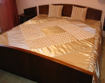 """Queen Bedspread with two pillows covers - smocked - beige - сream - handmade - Coverlet - Quilt - 230 cm x 240 cm (90"""" x 94"""")"""