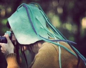 Unique handmade felt hat - blue