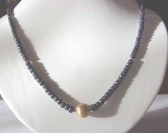 Sapphire  necklace  - Saphirkette - Saphir  Kette - sterling silver - vermeil-brideal necklace