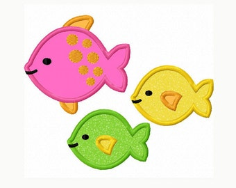 Three Fishes Applique Machine Embroidery Design NO:0030