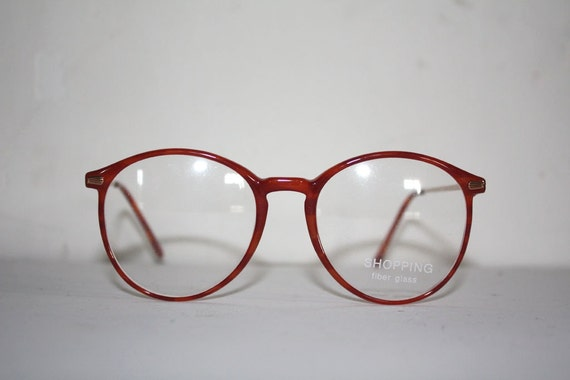 glasses shopping 72jd  Vintage Eye Glasses Shopping 1101 Fiber Glass Pantos Round Moscot Style  Made in Italy New