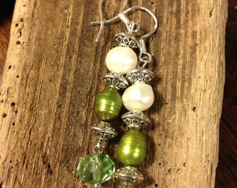 Green and white fresh water pearls earrings
