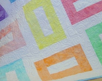 Baby Quilt Pastels on White (LS)