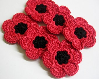 Crochet flower appliques in red and black poppies set of six 1,6 inches