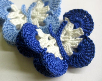 Crocheted Butterfly Appliques 2pc in white and blue, 3 inches wide