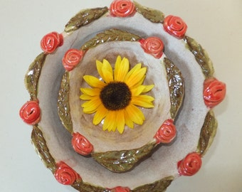 Red Rose Handmade Ceramic Nesting Bowls