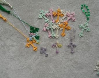 Hand Tatted Lace Cross w/Tassel