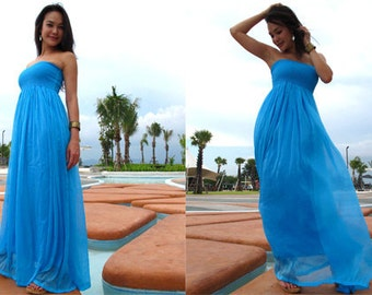 Blue Silk Chiffon Long Maxi Dress All Size