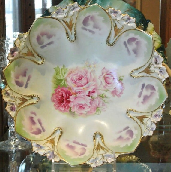 RS Prussia Bowl Antique Porcelain 1900s Victorian Art Nouveau Cottage Chic Home Decor Wedding  Germany Star Wreath Pink Roses Blossoms
