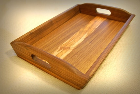 Handmade Wood Serving Tray Ottoman Walnut And Maple