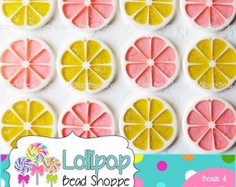 Set of 4 FRUIT SLICE Pendants Lemon Yellow or Pink Grapefruit Glitter Lemonade Resin Pendant Citrus Fruit Charm 34mm Bubblegum Bead Necklace