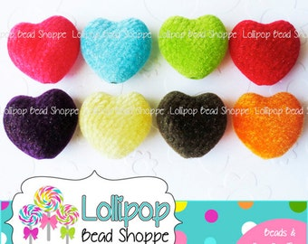 Velvet HEART Beads 25mm Beads Chunky Beads Fuzzy Beads Faux Velvet Beads 6 ct Acrylic Plastic Heart Shape Beads Bubblegum Bead Necklaces