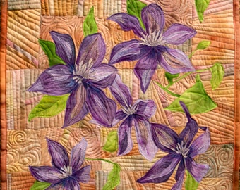 Hand painted fabric art quilt, wallhanging - clematis