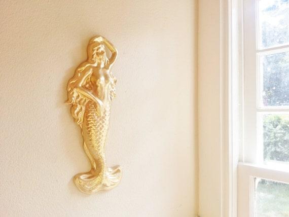 Mermaid wall sculpture,  nautical home accents, beach house decor, gold mermaid, gilded sea siren