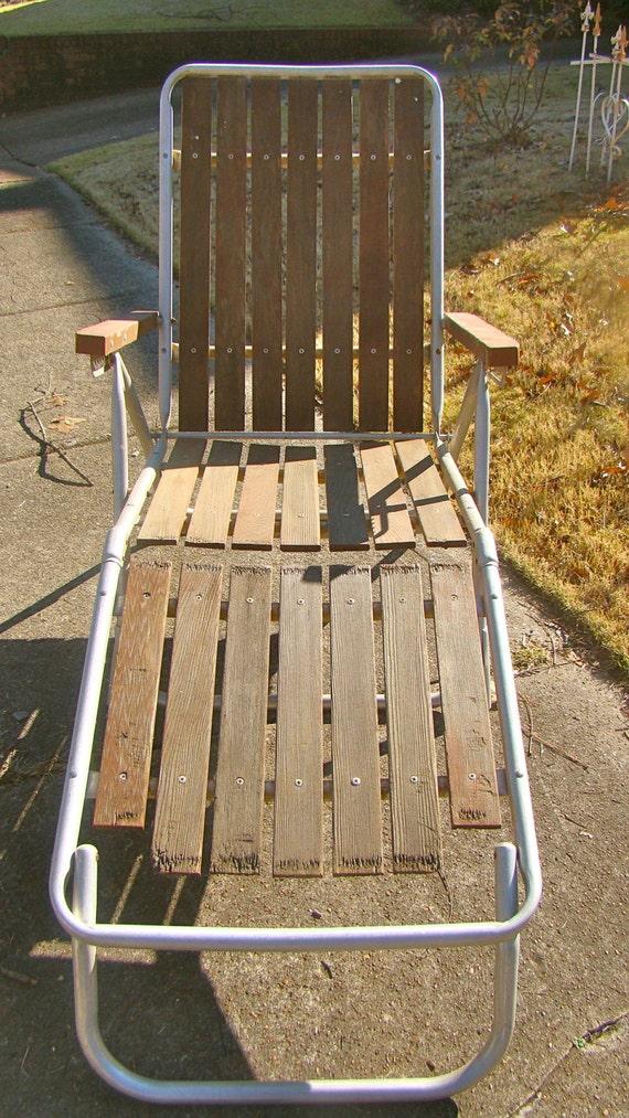 Folding Aluminum Lounge Chair With Wood Slats Mid Century