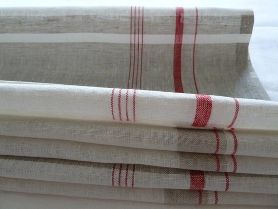Set Of 2 White Grey Color Linen Towels Kitchen Towels Red