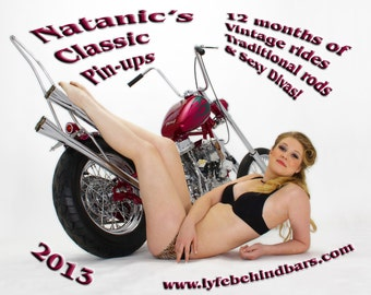 2013 Pin-up calendar featuring retro pin-up models on Vintage Motorcycles and Hot Rods