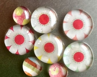 Cheerful Daisy Glass Magnet set