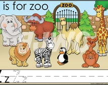 Z is for Zoo Alphabet File Folder Game - Downloadable PDF Only