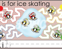 I is for ICE SKATING Alphabet File Folder Game - Downloadable PDF Only