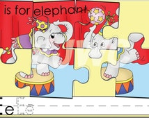 E is for ELEPHANT Alphabet File Folder Game - Downloadable PDF Only