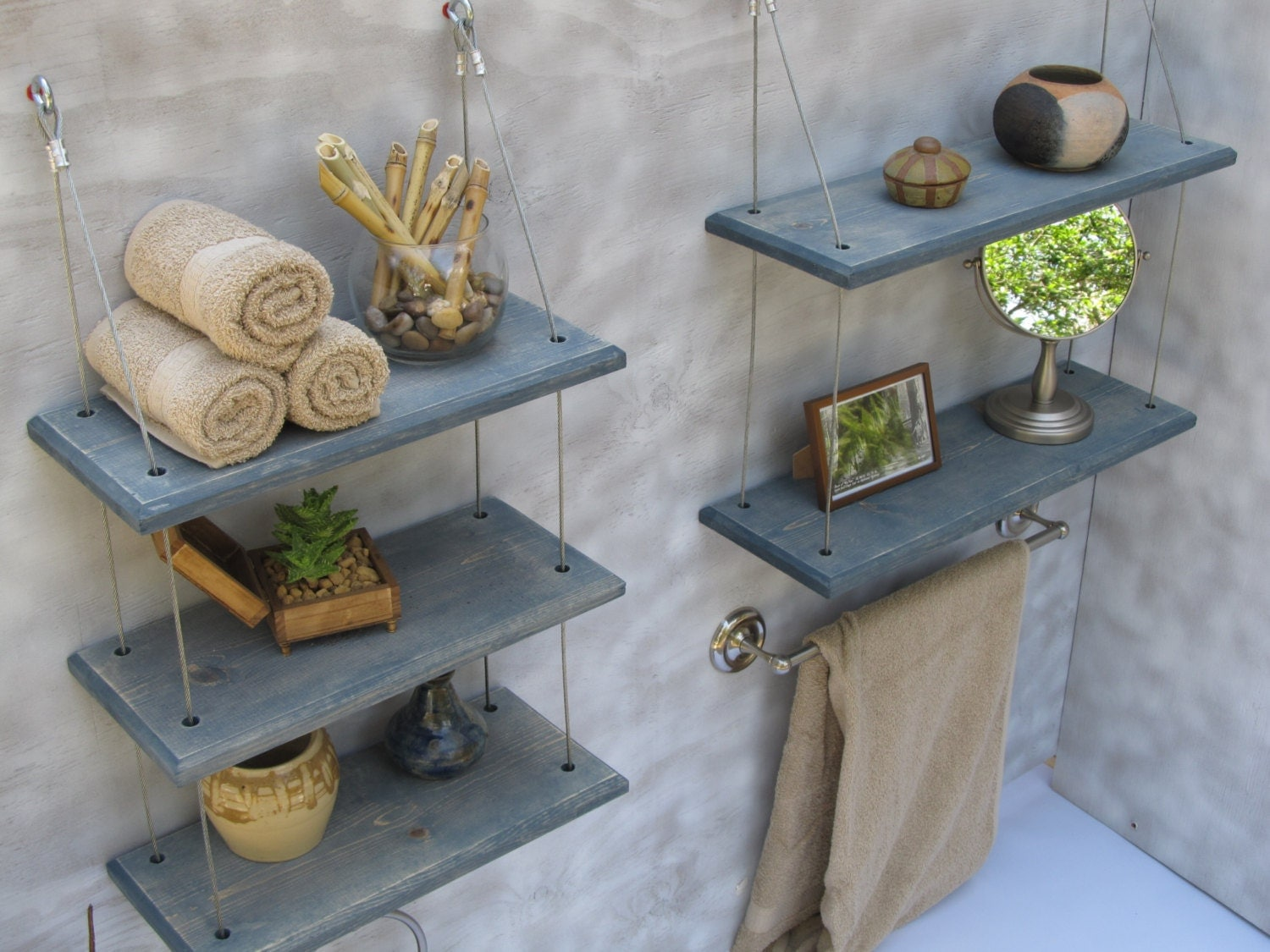 Bathroom shelves floating shelves industrial shelves - Floating shelf ideas for bathroom ...