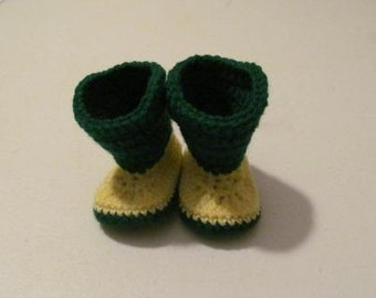 Hand Crocheted University of Oregon Ducks/Green Bay Packers Baby Cowboy Boots