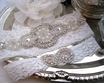White Lace / Ivory Lace Bridal Garter Set, Crystal Rhinestone Pearl Wedding Garter, Keepsake and Toss Heirloom Garter, Plus Size Available
