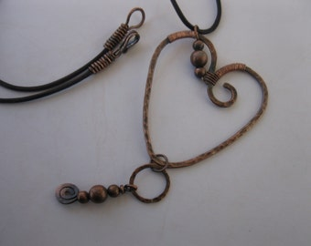 Rustic, Antiqued, Hammered, Wrapped Copper Heart on a Brown Leather Necklace