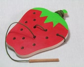 Montessori toy, Wood Sewing game - Strawberry, Educational toy, Toddler toy
