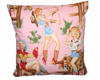 Pink Pin Up Cowgirl's Cushion