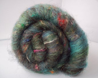 Carded Batt, Green Spinning Fiber, Black Welsh Mountain, Merino, Sari Silk, 100g / 3.5oz